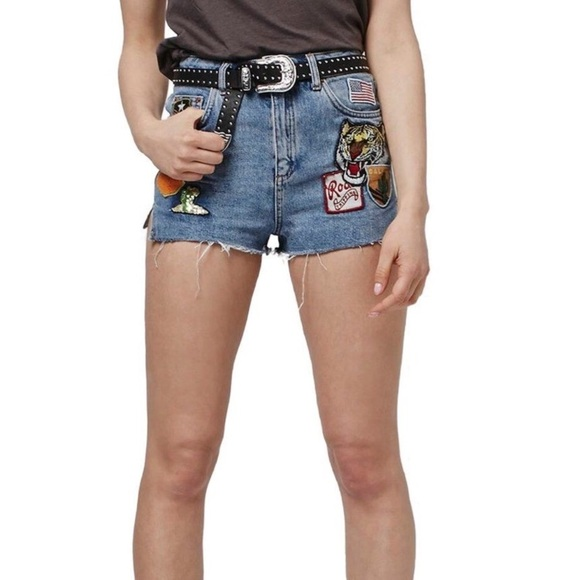TopShop Mom Shorts with Patch Detailing